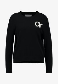 Calvin Klein Jeans - INTARSIA LOGO SWEATER - Trui - ck black/bright white - 4