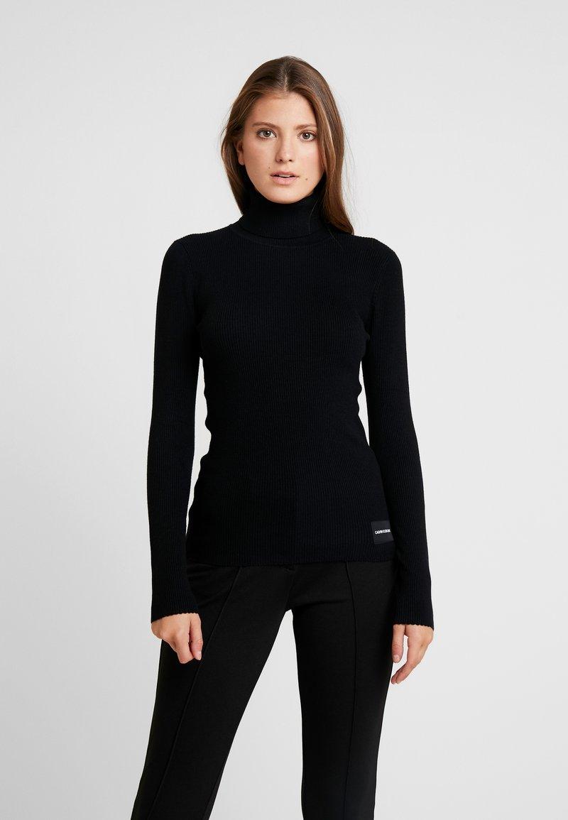 Calvin Klein Jeans - ICONIC TURTLE NECK - Stickad tröja - black