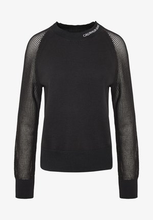 SWEATER WITH MESH SLEEVES - Pullover - black
