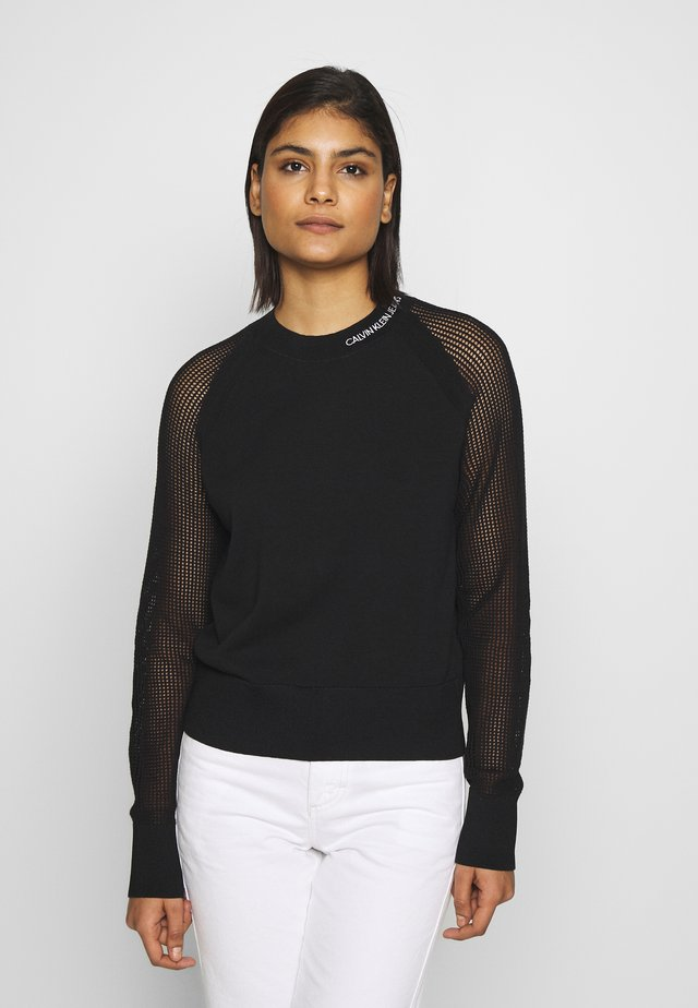 SWEATER WITH MESH SLEEVES - Jersey de punto - black