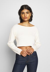 Calvin Klein Jeans - CROPPED BOAT NECK SWEATER - Pullover - offwhite - 0