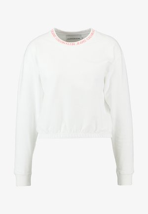 LOGO TAPE CROPPED NECK - Sweater - bright white/coral