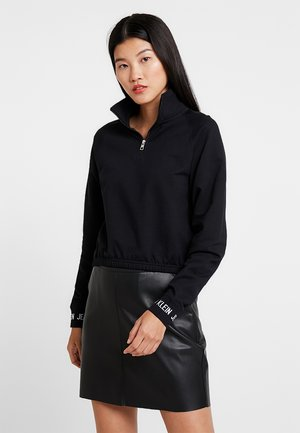LOGO TAPE CROPPED NECK - Sweatshirt - black