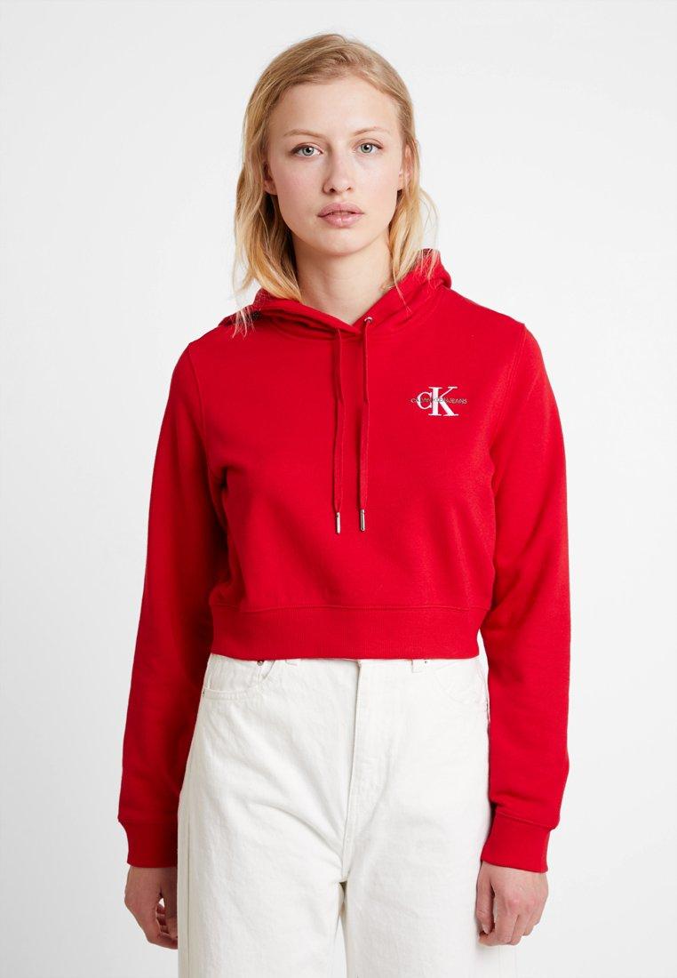 Calvin Klein Jeans - MONOGRAM EMBROIDERY HOODIE - Kapuzenpullover - barbados cherry/bright white