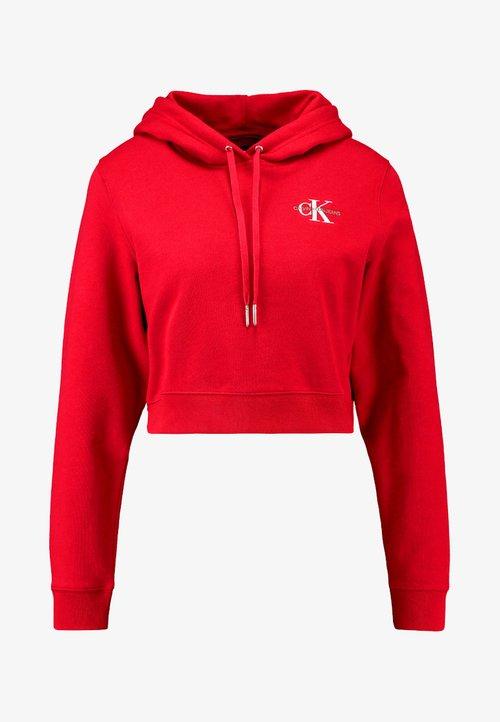 szyk Calvin Klein Jeans MONOGRAM EMBROIDERY HOODIE - Bluza z kapturem - barbados cherry/bright white Odzież Damska OHRE-YO1