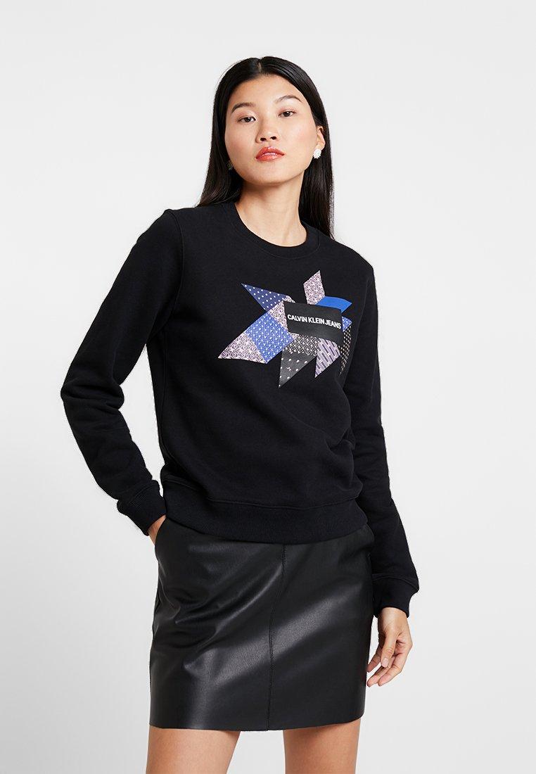 Klein Black Crew Jeans Quilt NeckSweatshirt Calvin Graphic 1Fl3TKJc