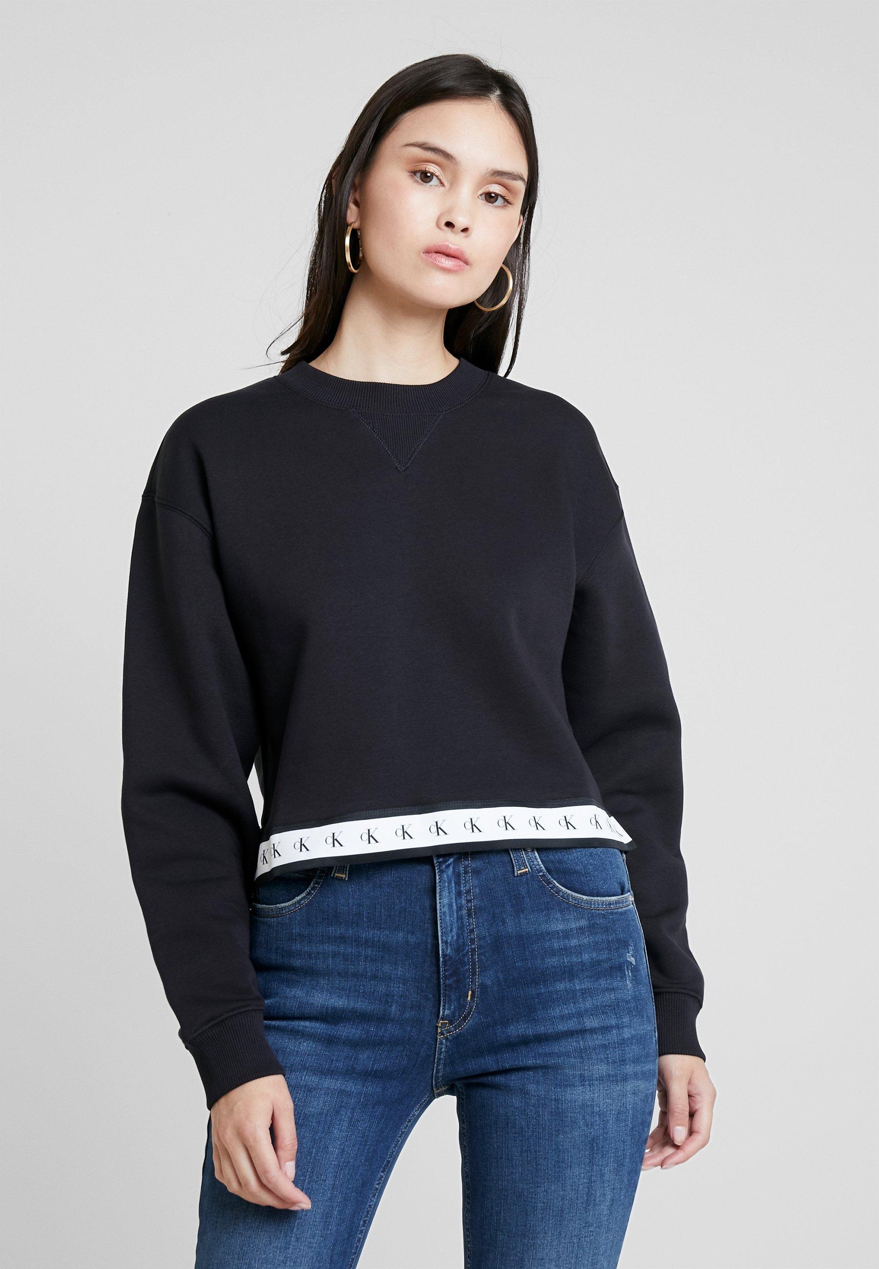 Jeans Crew Monogram NeckSweatshirt Black Tape Klein Calvin b76gvIYfy