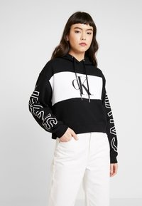 Calvin Klein Jeans - BLOCKING STATEMENT LOGO HOODIE - Hoodie - black/white - 0