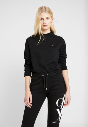 EMBROIDERY REGULAR CREW NECK - Mikina - black