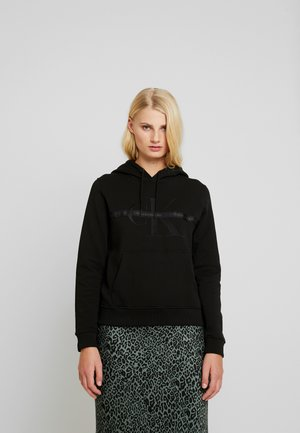TAPING THROUGH MONOGRAM HOODIE - Mikina s kapucí - black