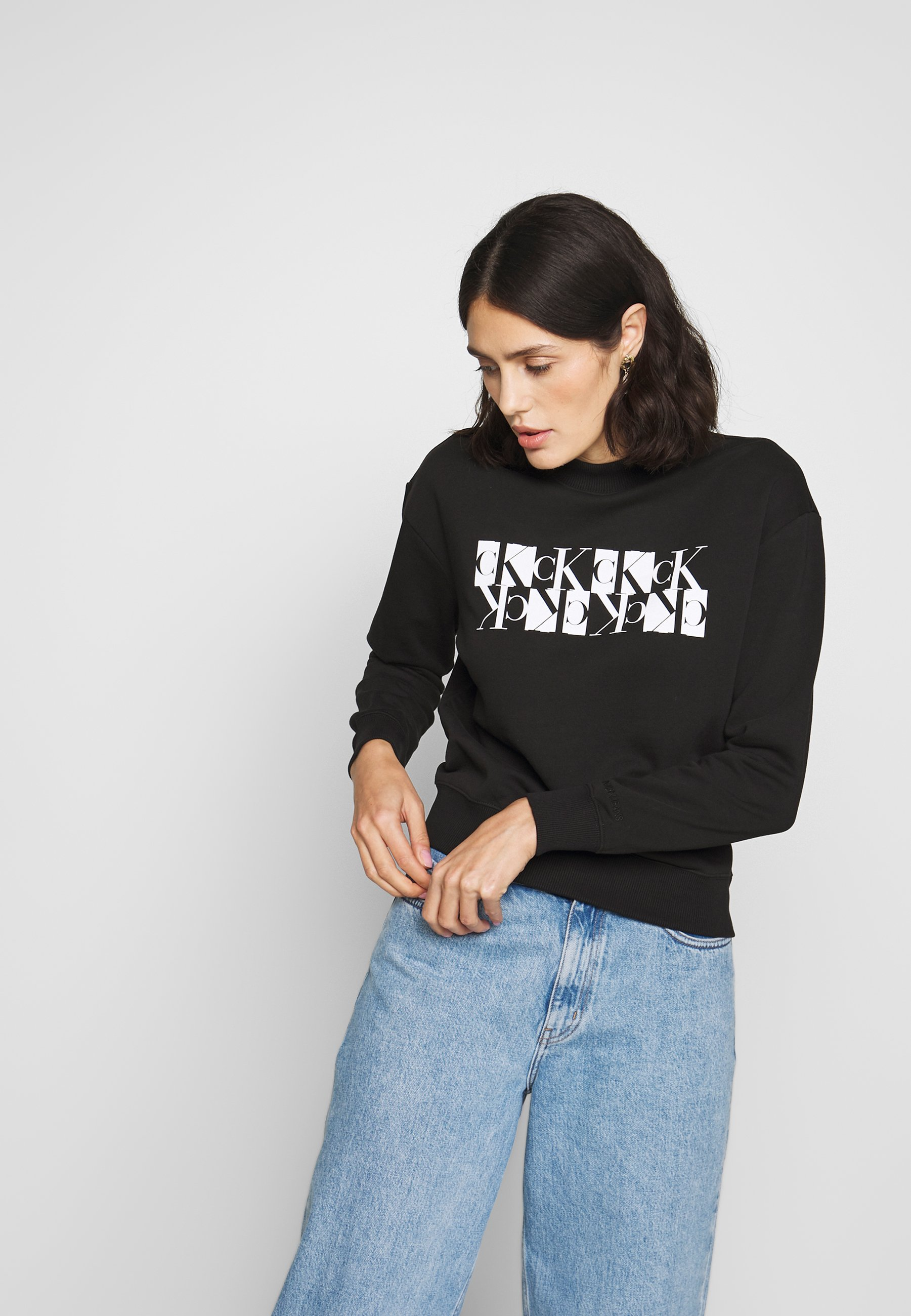 Calvin Klein Jeans Mirrored Crew Neck - Sweater Black 8GJjfWTw