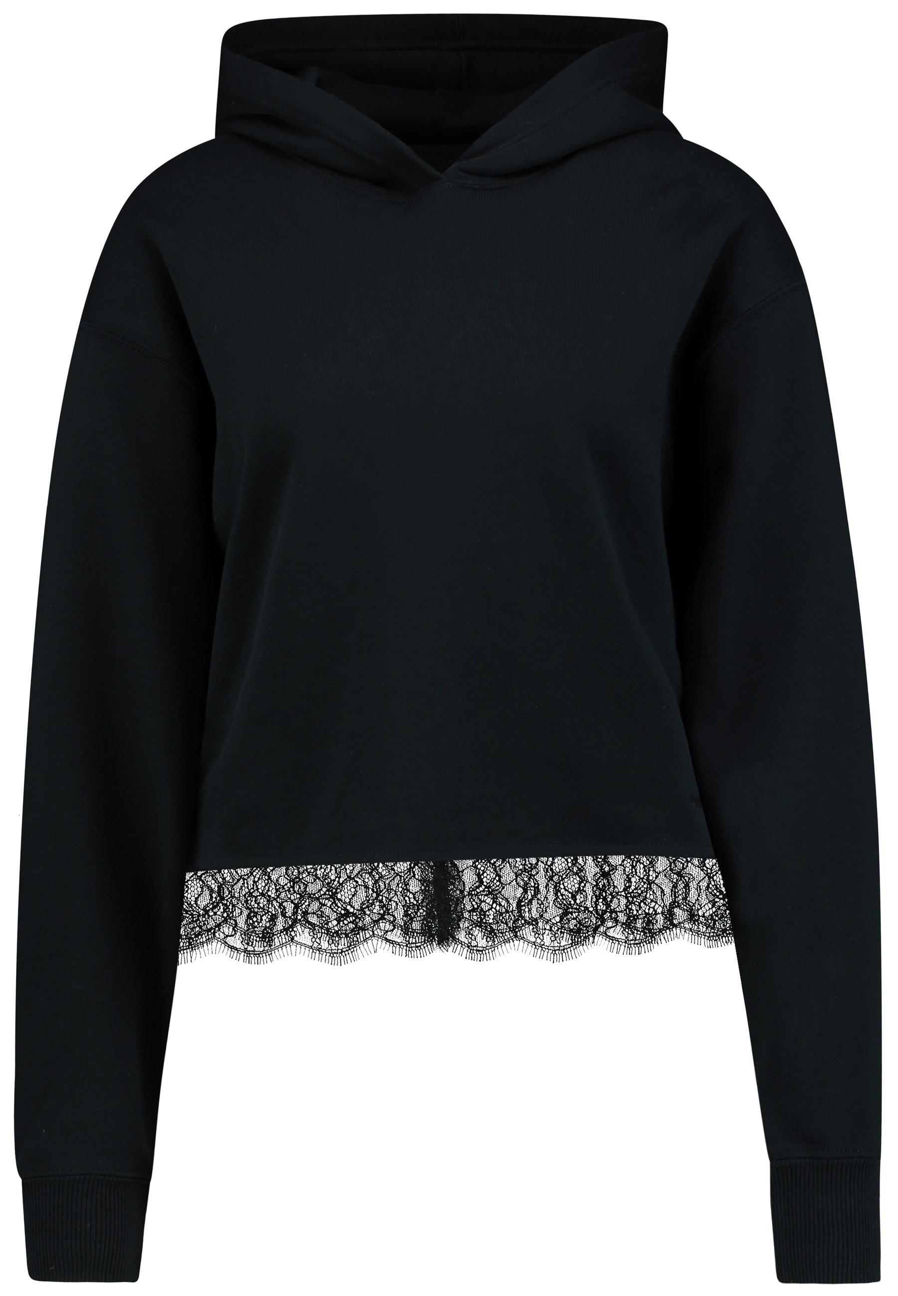 Calvin Klein Jeans Cropped Hoodie With Hem - Sweat À Capuche Black UbF4pMX
