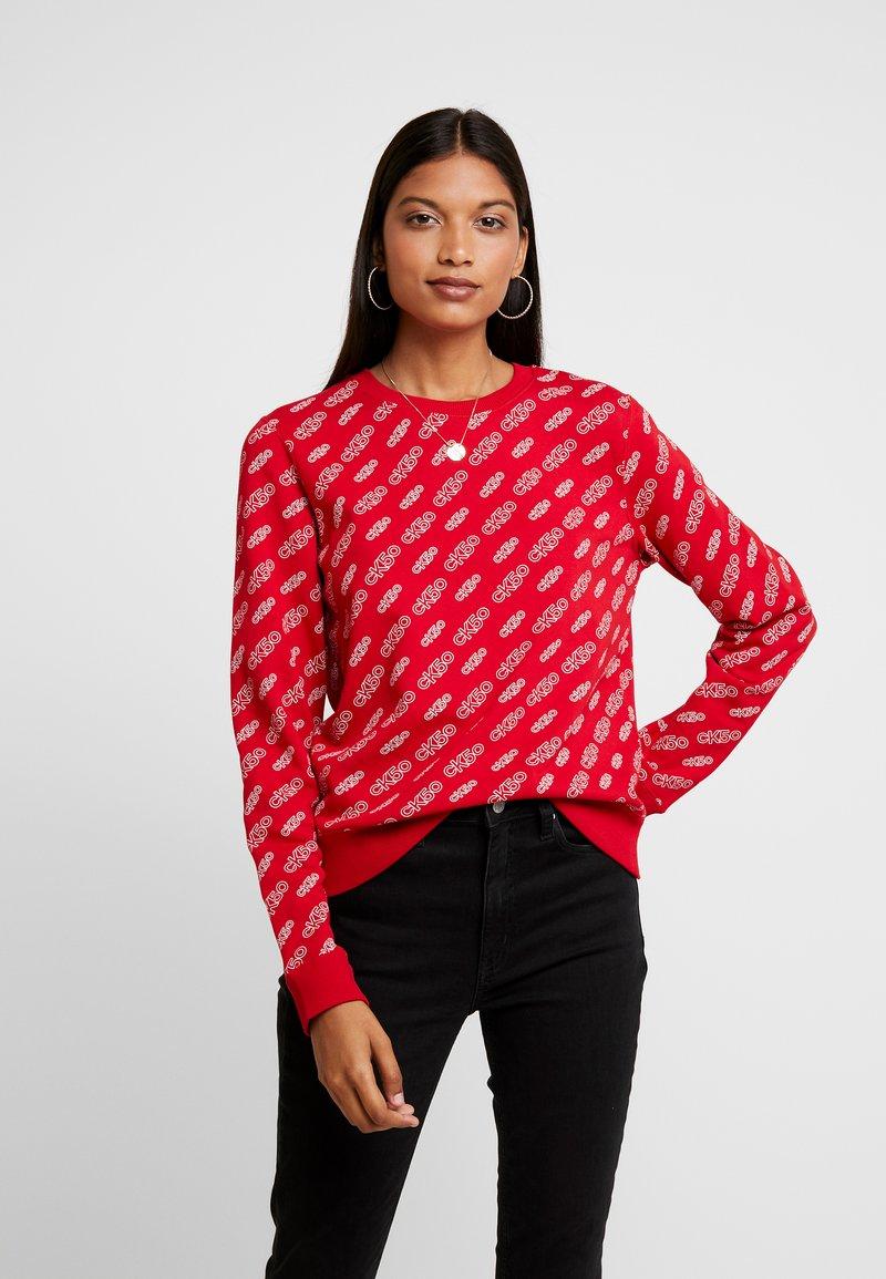 Calvin Klein Jeans - REGULAR CREW NECK - Sweatshirt - temper/bright white aop