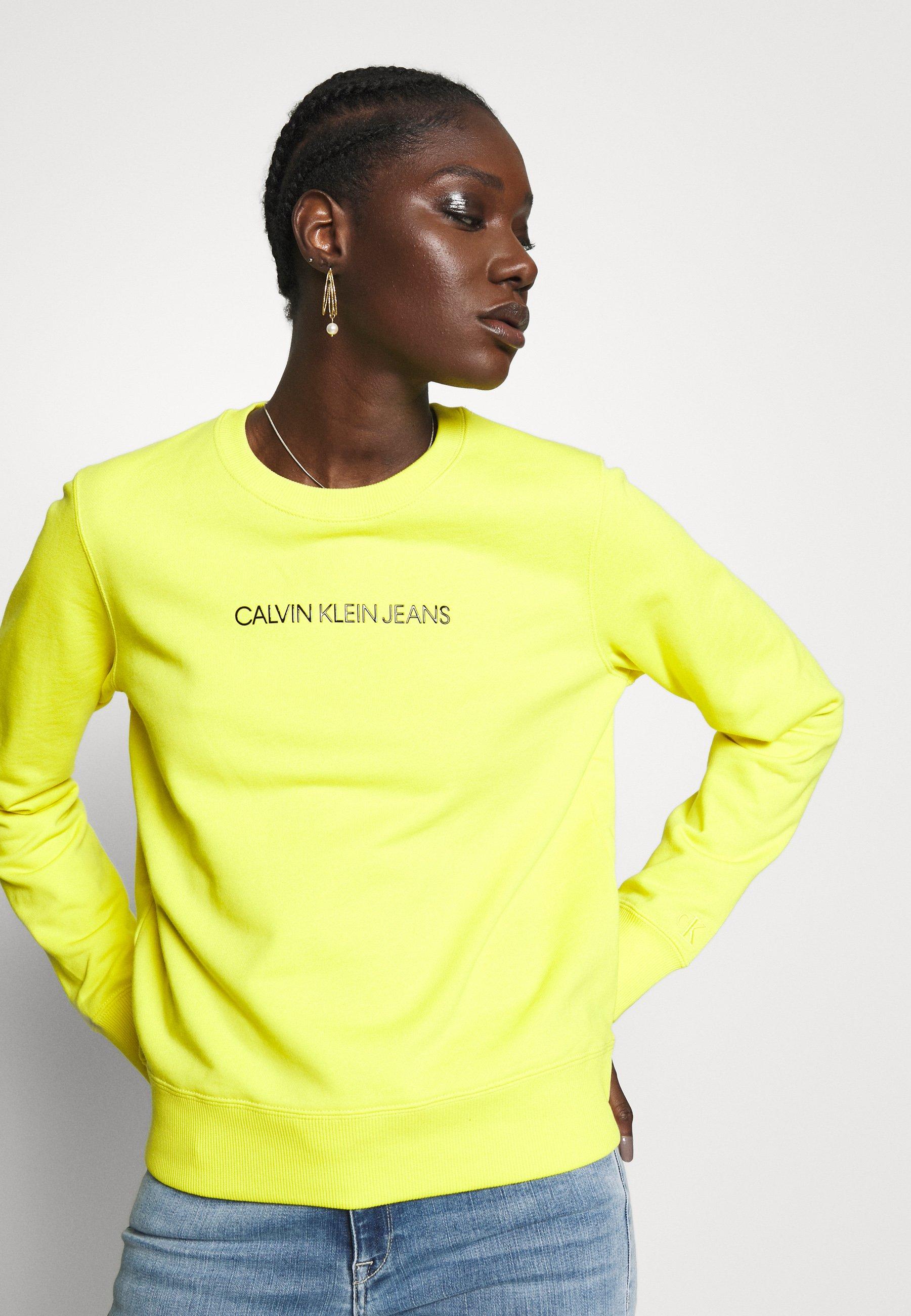 Calvin Klein Jeans INSTITUTIONAL REGULAR CREW NECK - Bluza - solar yellow