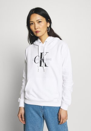 MONOGRAM RELAXED SHORT HOODIE - Mikina s kapucí - bright white