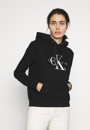 MONOGRAM RELAXED SHORT HOODIE - Bluza z kapturem - black