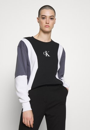 COLOR BLOCK CREW NECK - Sweater - black / abstract grey / white
