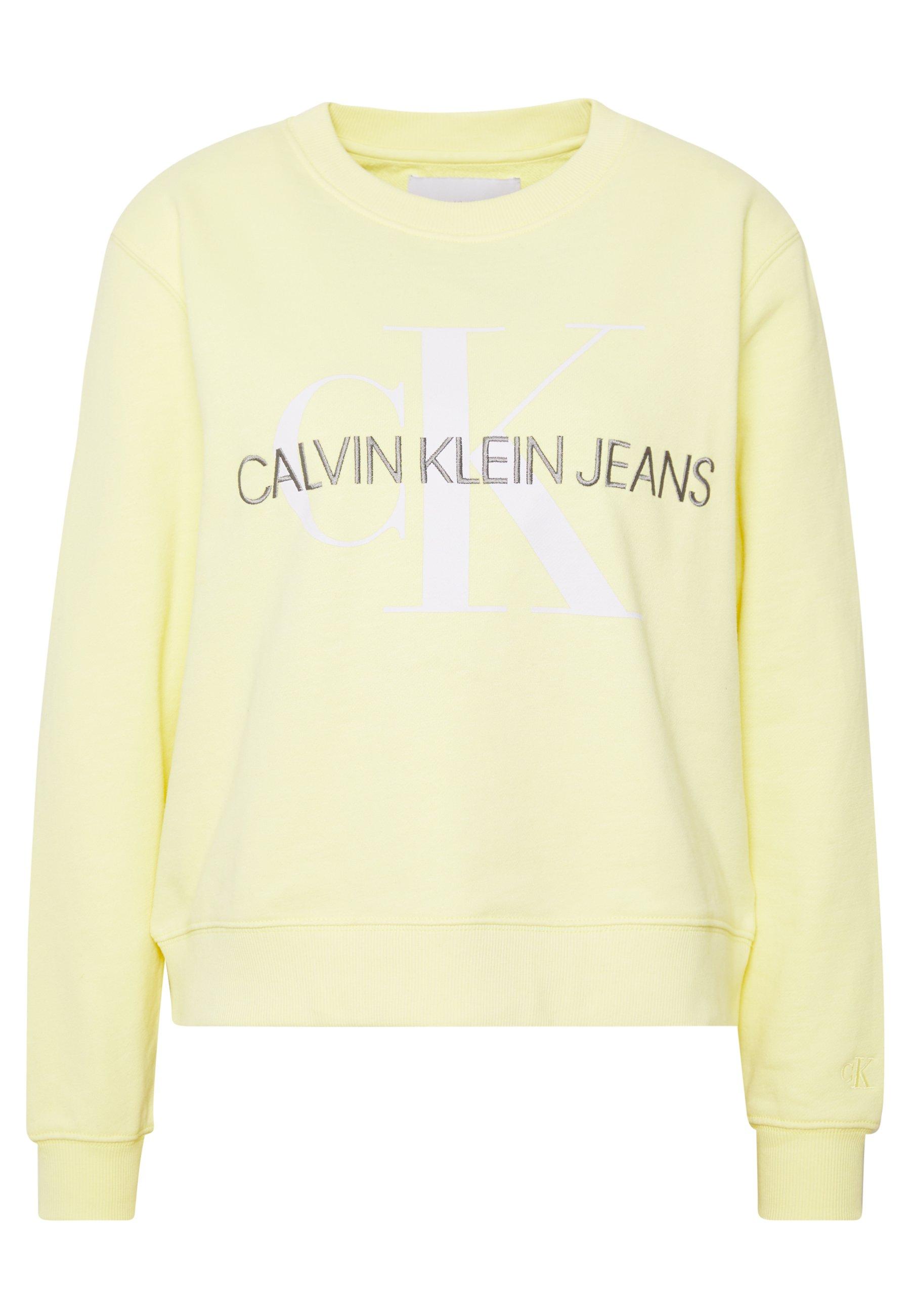 Calvin Klein Jeans VEGETABLE DYE MONOGRAM CREW NECK - Sweatshirt - mimosa yellow