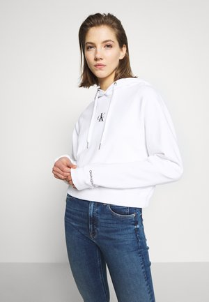 CK ONE SMALL LOGO CROPPED BOYFRIEND - Sweat à capuche - bright white