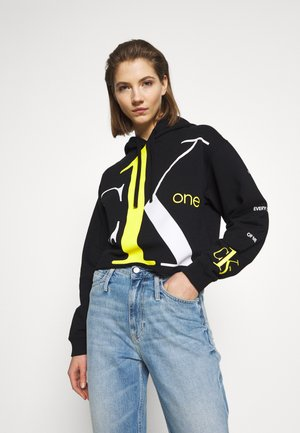 CK ONE BIG LOGO CROPPED BOYFRIEND - Mikina s kapucí - black beauty
