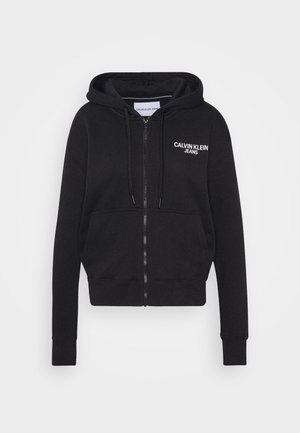 INSTIT BACK LOGO ZIP THROUGH - Zip-up hoodie - black