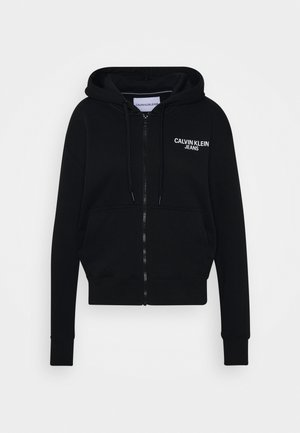 INSTIT BACK LOGO ZIP THROUGH - Sudadera con cremallera - black