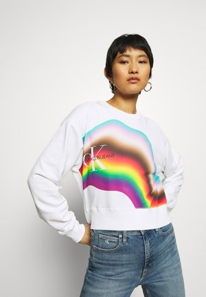 DISTORTED RAINBOW CROP BOYFRIEND - Sweatshirt - bright white