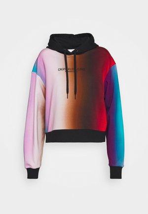 OVERSIZED CROPPED - Mikina skapucí - rainbow blur