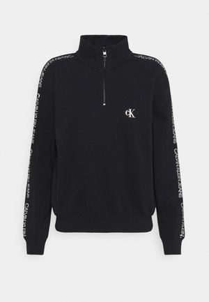 OUTLINE LOGO MOCK NECK ZIP - Sweater - ck black