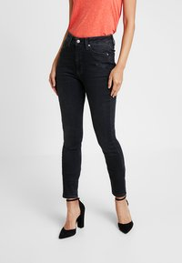 Calvin Klein Jeans - HIGH RISE - Jeans Skinny Fit - forillon black - 0