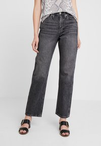 Calvin Klein Jeans - HIGH RISE STRAIGHT ANKLE - Straight leg jeans - dolores black - 0