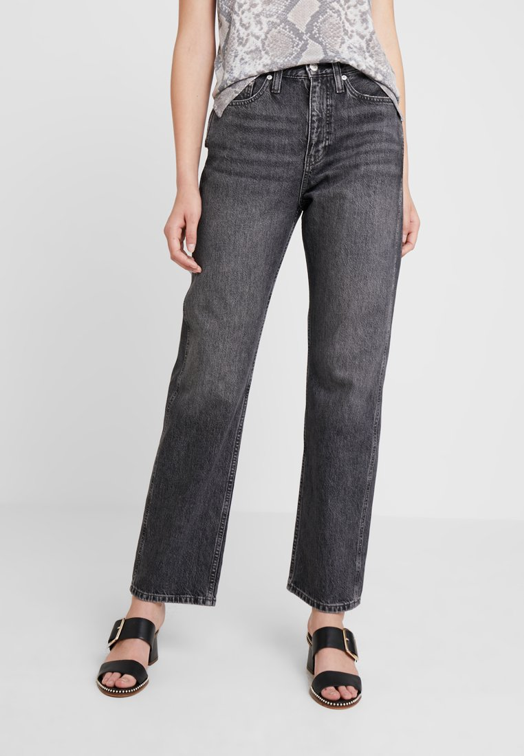 Calvin Klein Jeans - HIGH RISE STRAIGHT ANKLE - Straight leg jeans - dolores black