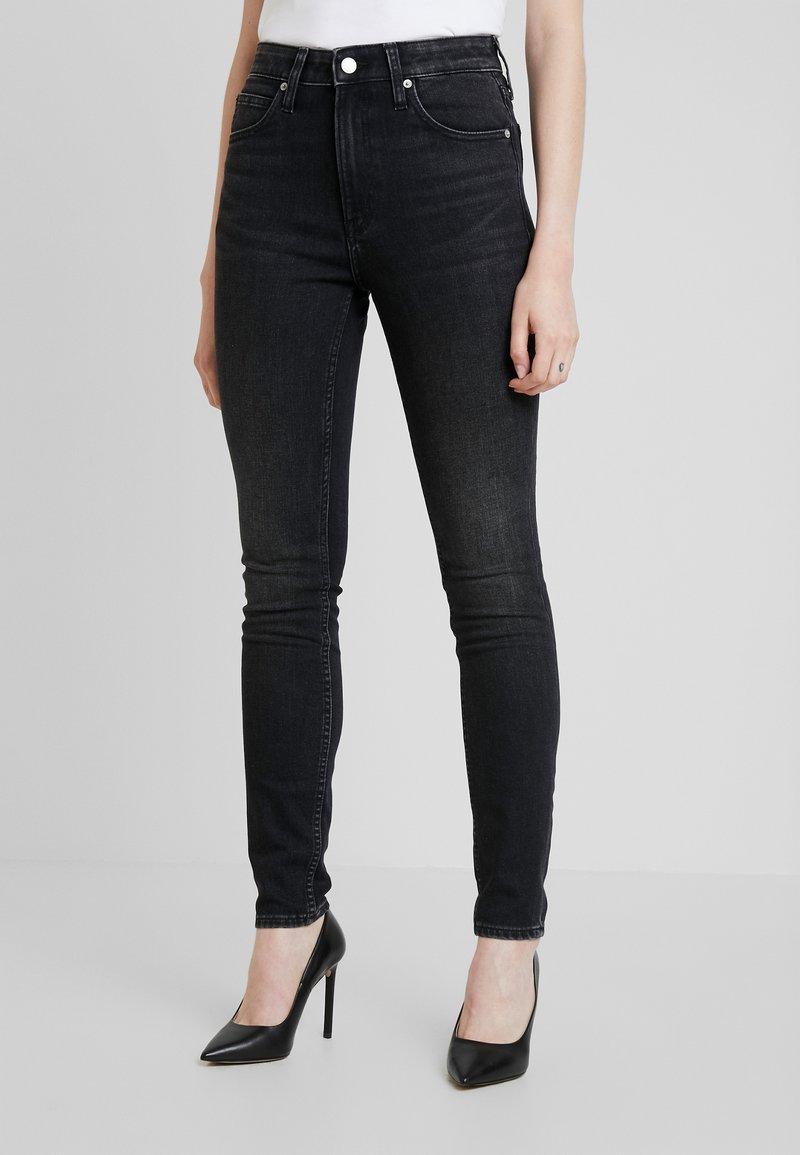 Calvin Klein Jeans - HIGH RISE SKINNY - Skinny džíny - iron horse black