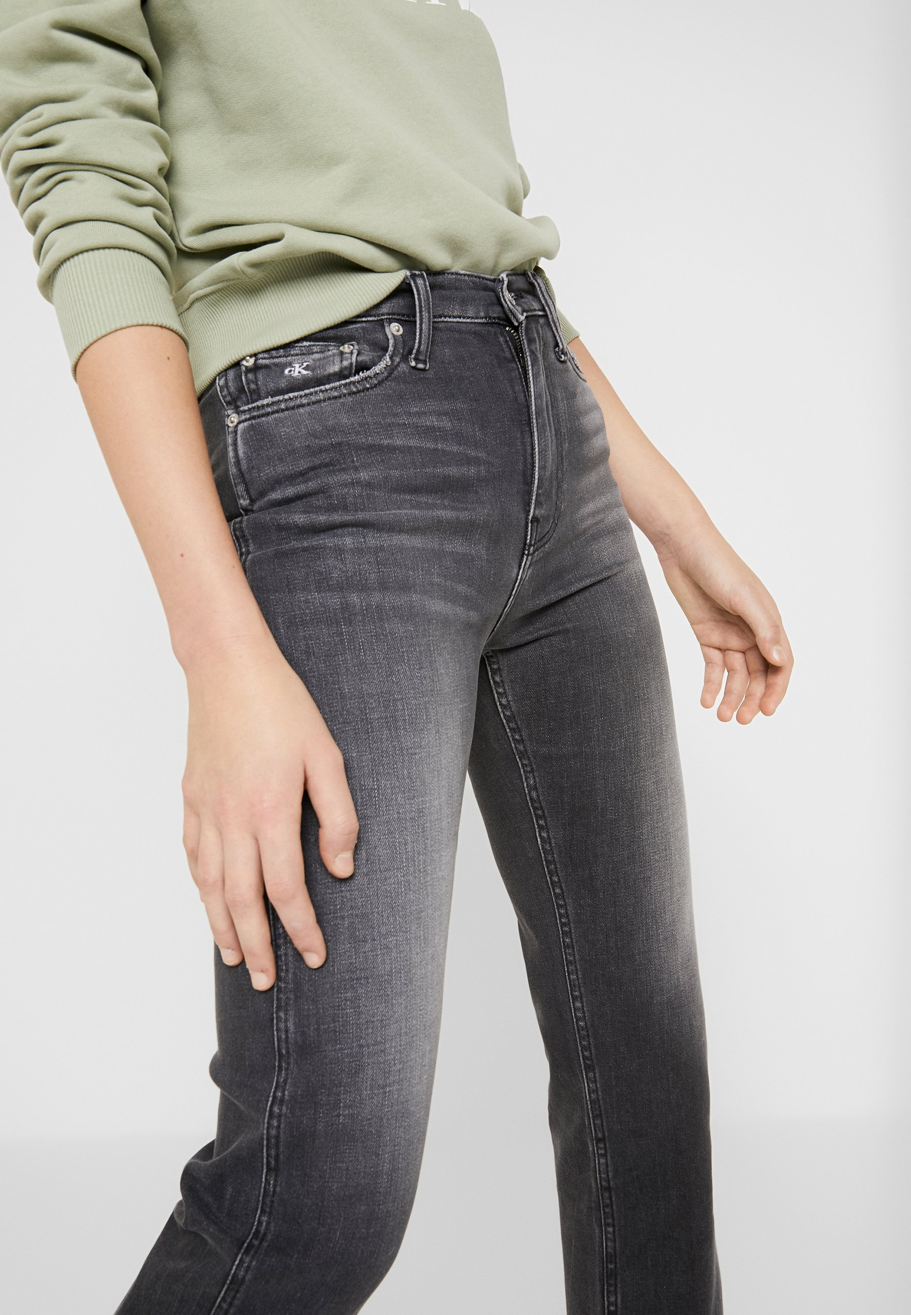 Calvin Klein Jeans HIGH RISE STRAIGHT ANKLE - Jeansy Straight Leg - black