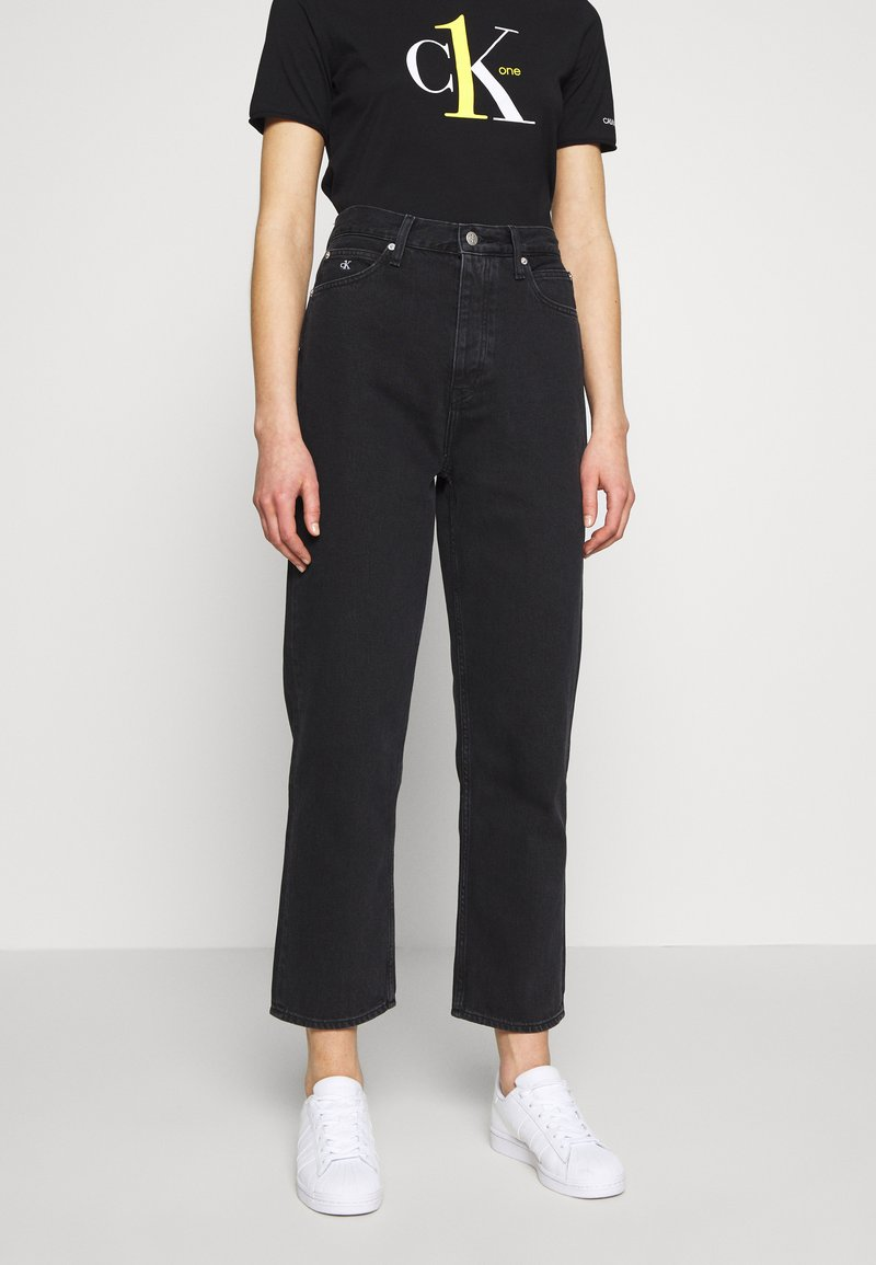 Calvin Klein Jeans - CK ONE DAD ANKLE - Relaxed fit jeans - black stone