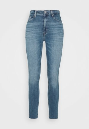 HIGH RISE SKINNY ANKLE - Vaqueros pitillo - mid blue embro
