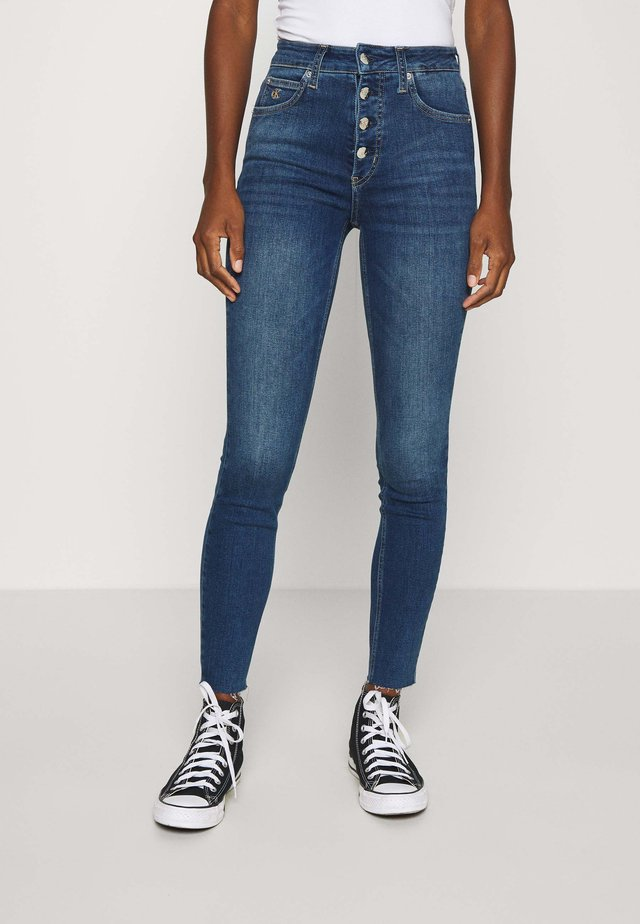 HIGH RISE SKINNY ANKLE - Jeans Skinny - mid blue