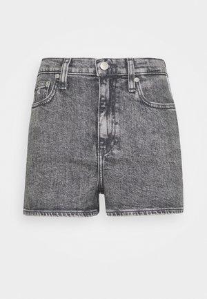 HIGH RISE - Shorts di jeans - grey tape