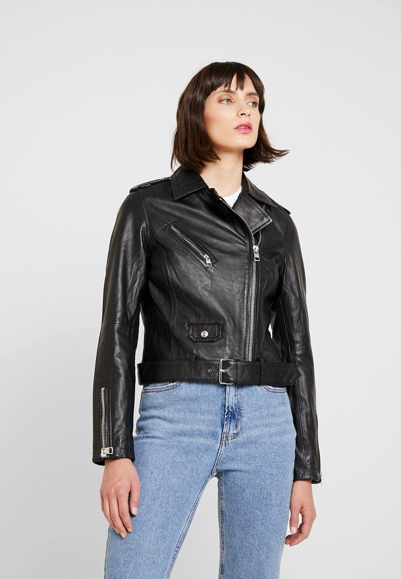 Calvin Klein Jeans - BIKER JACKET - Lederjacke - black