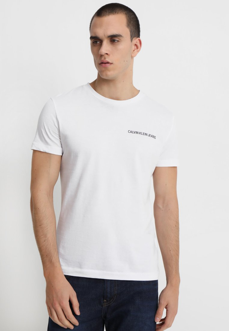 Calvin Klein Jeans - SMALL INSTIT LOGO CHEST TEE - T-shirt - bas - white