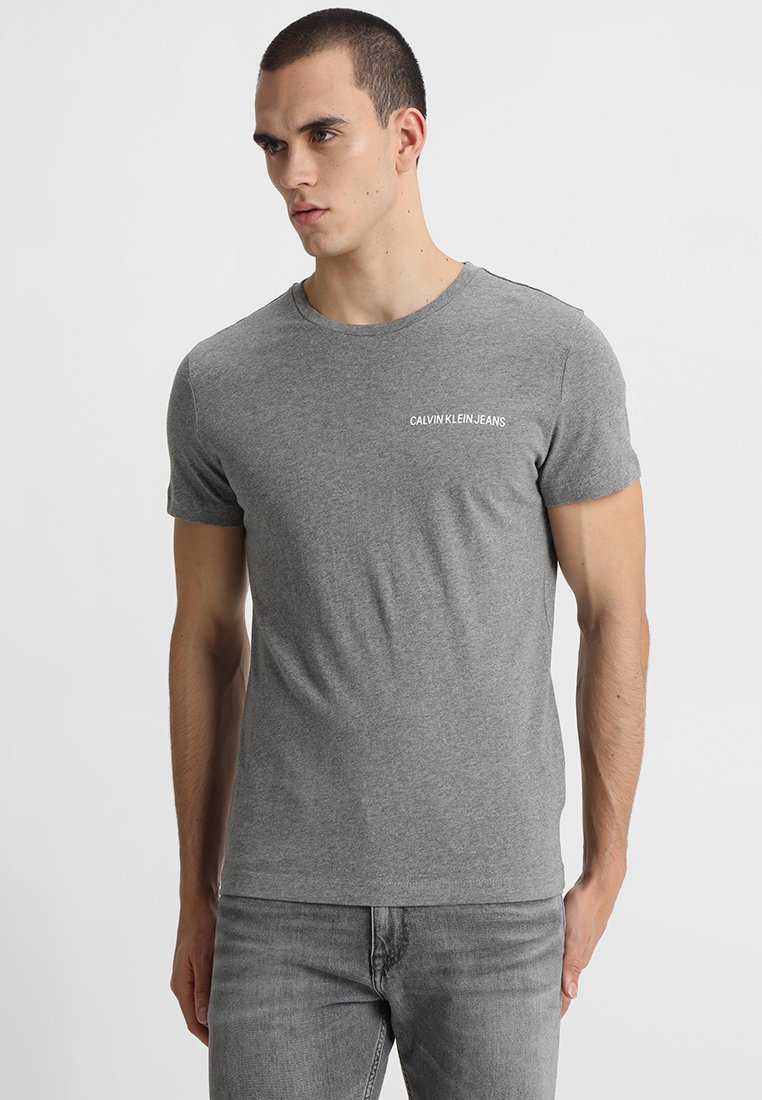 Calvin Klein Jeans - SMALL INSTIT LOGO CHEST TEE - T-Shirt basic - grey