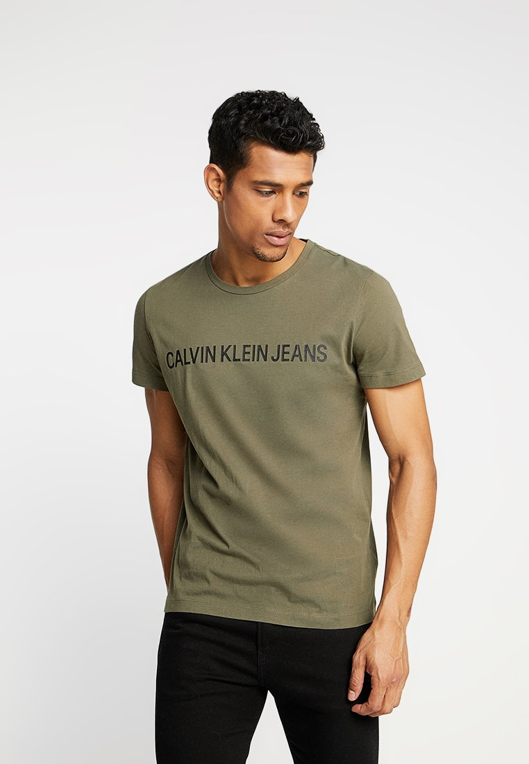 Calvin Klein Jeans - INSTITUTIONAL SLIM LOGO TEE - Print T-shirt - green