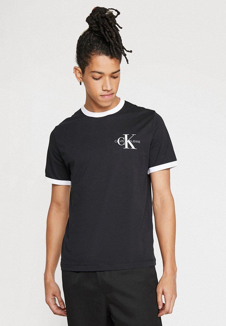 Calvin Klein Jeans - MONOGRAM RINGER TEE BOX - T-shirt print - black
