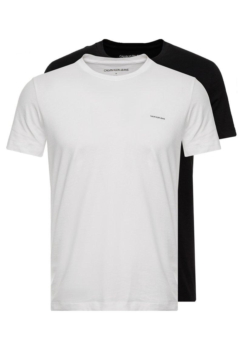 Calvin Klein Jeans - SLIM FIT 2 PACK - T-shirt - bas - bright white/black beauty