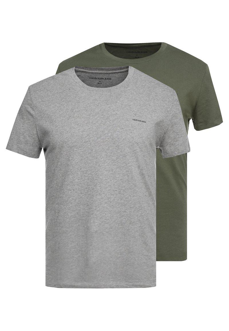 Calvin Klein Jeans - SLIM FIT 2 PACK - Basic T-shirt - grape leaf/grey melange