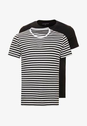 2 PACK SLIM FIT - Camiseta estampada - black beauty/bright white