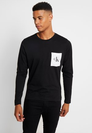 MONOGRAM POCKET SLIM TEE - Bluzka z długim rękawem - black/bright white