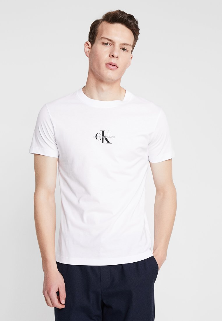 Calvin Klein Jeans - CENTERED MONOGRAM SLIM TEE - Print T-shirt - bright white