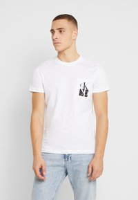 Calvin Klein Jeans - MIRRORED MONOGRAM SLIM TEE - T-shirt con stampa - bright white/black - 0