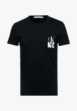 MIRRORED MONOGRAM SLIM TEE - T-shirt z nadrukiem - black/white
